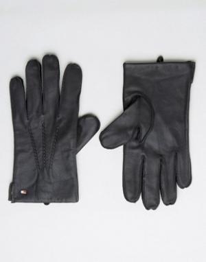 Кожаные перчатки Tommy Hilfiger. Цвет: черный