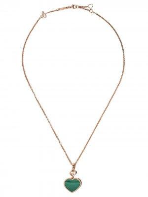 Золотое колье Happy Hearts с бриллиантом Chopard. Цвет: розовый
