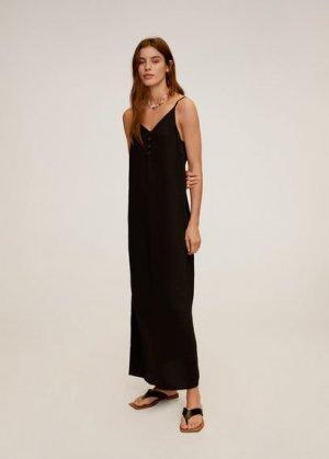 Длинное платье с пуговицами - Emma-i Mango. Цвет: черный