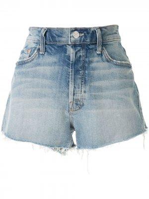 Джинсовые шорты с бахромой Mother. Цвет: синий