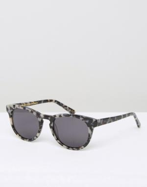 Классические солнцезащитные очки в квадратной оправе Han Kjobenhavn. Цвет: черный