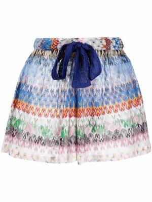 Пляжные шорты с вышивкой Missoni Mare. Цвет: синий