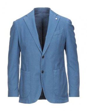 Пиджак LUIGI BIANCHI ROUGH. Цвет: лазурный