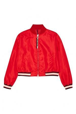Красная куртка-бомбер на молнии Moncler. Цвет: красный