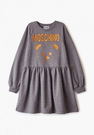 Платье Moschino Kids. Цвет: серый