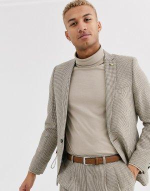 Коричневый супероблегающий пиджак с узором гусиная лапка -Коричневый цвет Twisted Tailor
