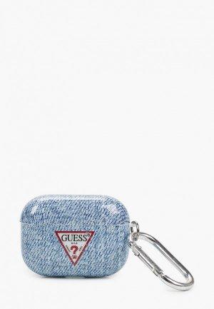 Чехол для наушников Guess Airpods Pro, TPU case with ring Denim Light Blue. Цвет: голубой