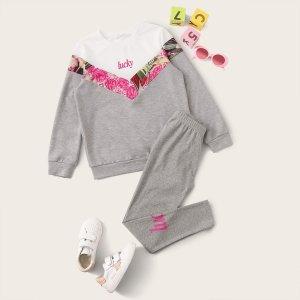 Леггинсы и контрастный шевронный пуловер с текстовым принтом для девочек SHEIN. Цвет: серые