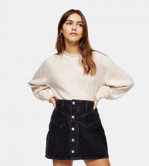 Джинсовая юбка выбеленного черного цвета на пуговицах Petite-Черный цвет Topshop