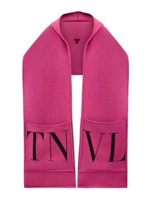 Шарф из шерстяной пряжи с объемными карманами и капюшоном VALENTINO GARAVANI. Цвет: розовый