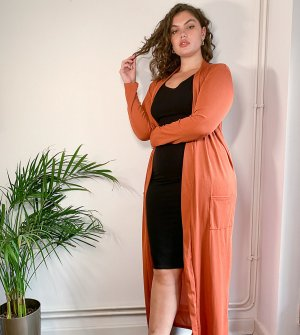 Куртка макси рыжего цвета от комплекта -Оранжевый Club L London Plus