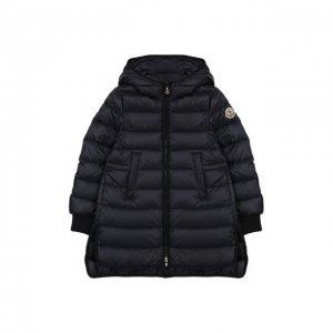 Пуховое пальто с капюшоном Moncler Enfant. Цвет: синий