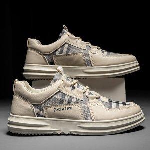 Мужская обувь для коньков в клетку SHEIN. Цвет: бежевые