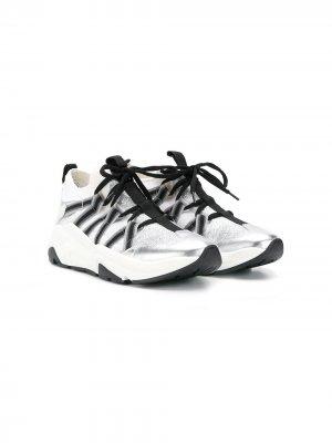 Кроссовки на шнуровке со вставками Balmain Kids. Цвет: белый