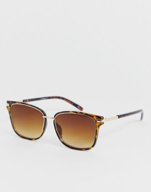 Квадратные солнцезащитные очки в черепаховой оправе -Коричневый Jeepers Peepers