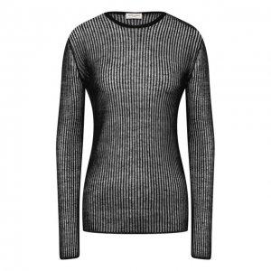 Пуловер из смеси льна и шелка Saint Laurent. Цвет: чёрный