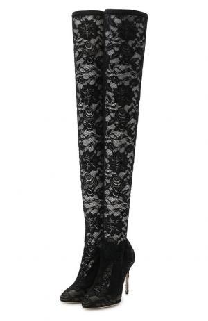 Кружевные ботфорты Coco на шпильке Dolce & Gabbana. Цвет: чёрный