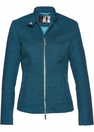 Куртка из материала букле, байкерский дизайн bonprix. Цвет: сине-зеленый