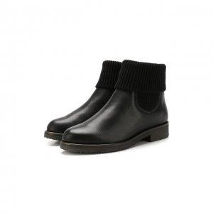 Кожаные ботинки с меховой отделкой Baldan. Цвет: чёрный
