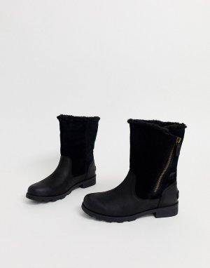 Черные кожаные водонепроницаемые сапоги с отворотами Emilie-Черный Sorel
