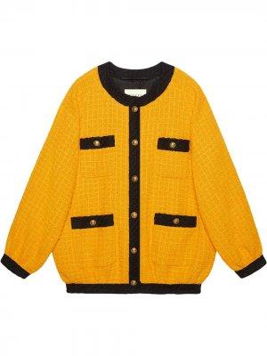 Твидовая куртка-бомбер свободного кроя Gucci. Цвет: желтый