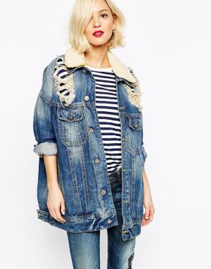 Удлиненная джинсовая куртка с потертостями Anglomani Vivienne Westwood. Цвет: синий