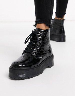 Черные кожаные ботинки на массивной подошве со шнуровкой -Черный Bronx