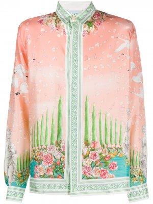 Рубашка с длинными рукавами и принтом Casablanca. Цвет: розовый