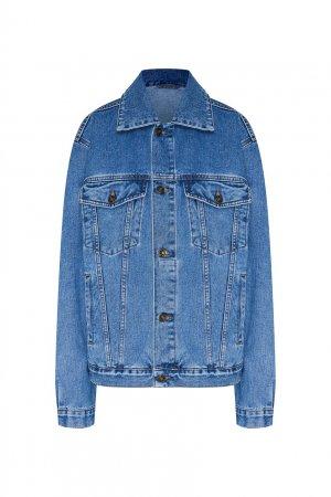 Джинсовая куртка с красным логотипом TEAM PUTIN. Цвет: синий