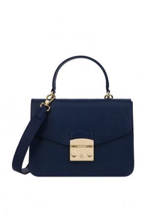 Синяя кожаная сумка Metropolis FURLA. Цвет: синий