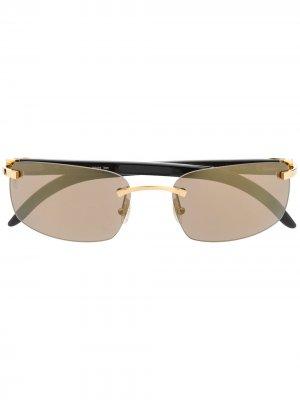 Солнцезащитные очки без оправы Cartier Eyewear. Цвет: коричневый