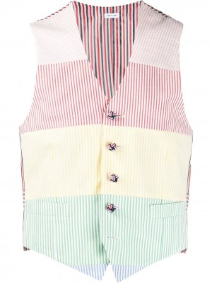 Полосатый жилет из сирсакера Thom Browne. Цвет: розовый