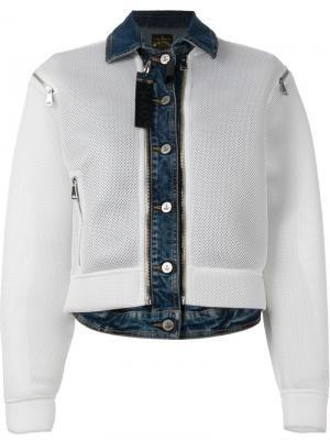 Сетчатая куртка с джинсовой отделкой Vivienne Westwood Anglomania. Цвет: белый