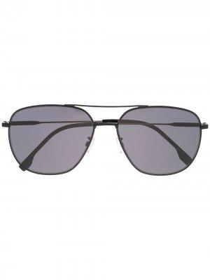 Затемненные солнцезащитные очки-авиаторы BOSS. Цвет: черный