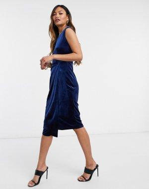 Темно-синее бархатное платье-футляр -Темно-синий Closet London