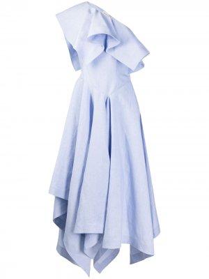 Платье миди асимметричного кроя с открытыми плечами Alexander McQueen. Цвет: синий