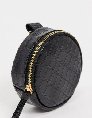 Круглый кошелек из фактурной искусственной кожи под крокодила черного цвета с карабином для подвешивания -Черный ASOS DESIGN