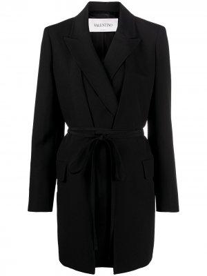 Пиджак с поясом Valentino. Цвет: черный