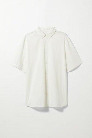 Рубашка Dameer с короткими рукавами Weekday. Цвет: белый