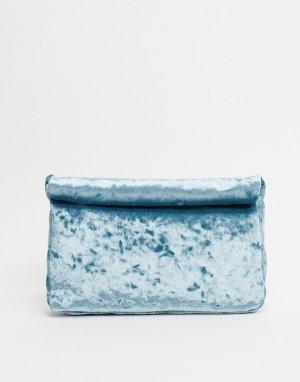 Голубой бархатный клатч с подворачивающимся верхом -Синий ASOS DESIGN