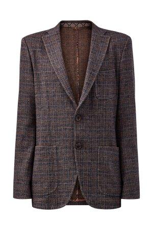 Блейзер в стиле casual из шерсти и хлопка ETRO. Цвет: коричневый