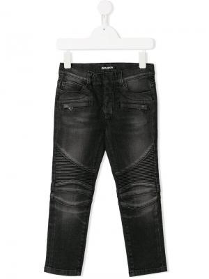 Байкерские джинсы узкого кроя Balmain Kids. Цвет: черный