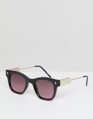 Солнцезащитные очки в черной квадратной оправе с красными линзами Spitfire. Цвет: черный