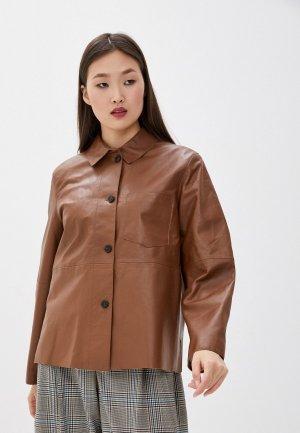 Куртка кожаная Weekend Max Mara. Цвет: коричневый