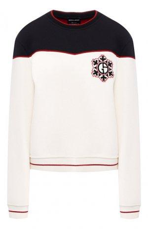 Шерстяной пуловер Giorgio Armani. Цвет: белый