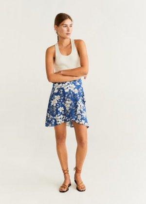 Мини-юбка с цветами и воланами - Moon-h Mango. Цвет: синий