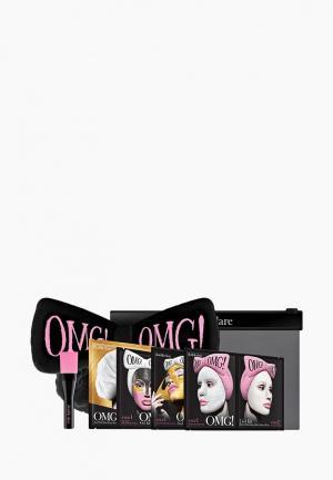 Набор для ухода за лицом Double Dare OMG! SPA из 4 масок, кисти и черного банта. Цвет: разноцветный