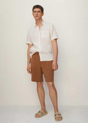 Рубашка 100% лен с короткими рукавами - Ants Mango. Цвет: грязно-белый