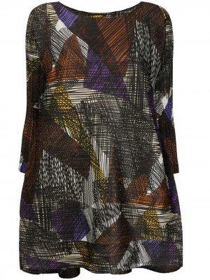 Блузка с геометричным узором и вышивкой Pleats Please Issey Miyake. Цвет: черный