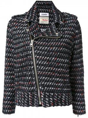 Твидовая байкерская куртка Coohem. Цвет: черный
